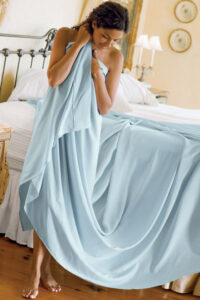 blue silk sheets