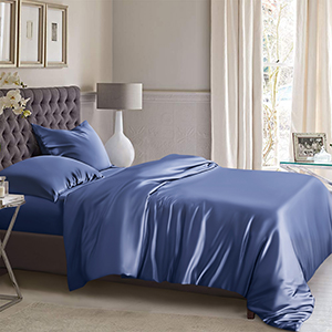 dark blue silk duvet cover