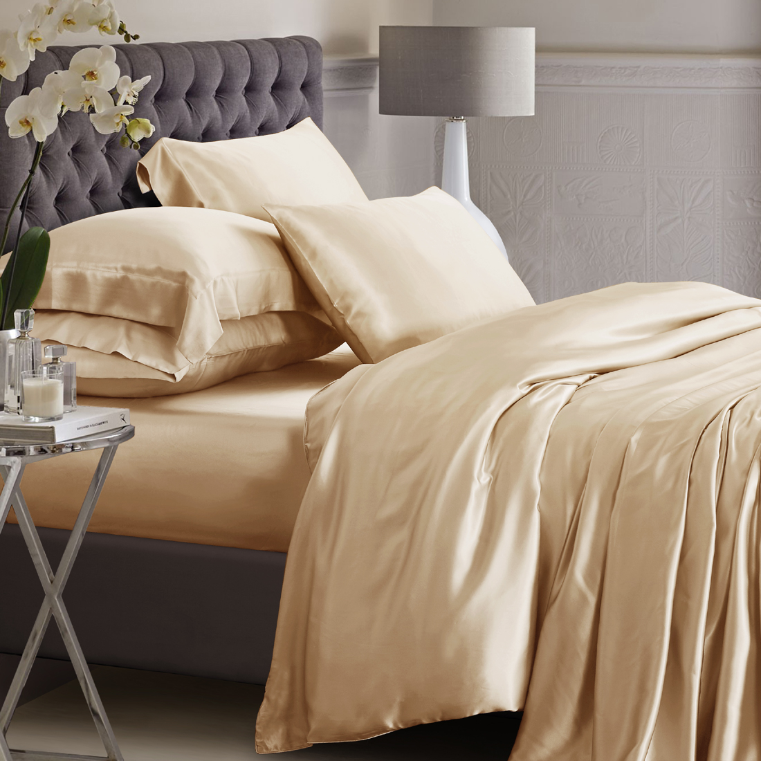 25 Momme Champagne Silk Bed Linen