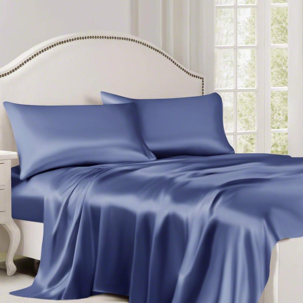 Dark Blue Silk Flat Sheet