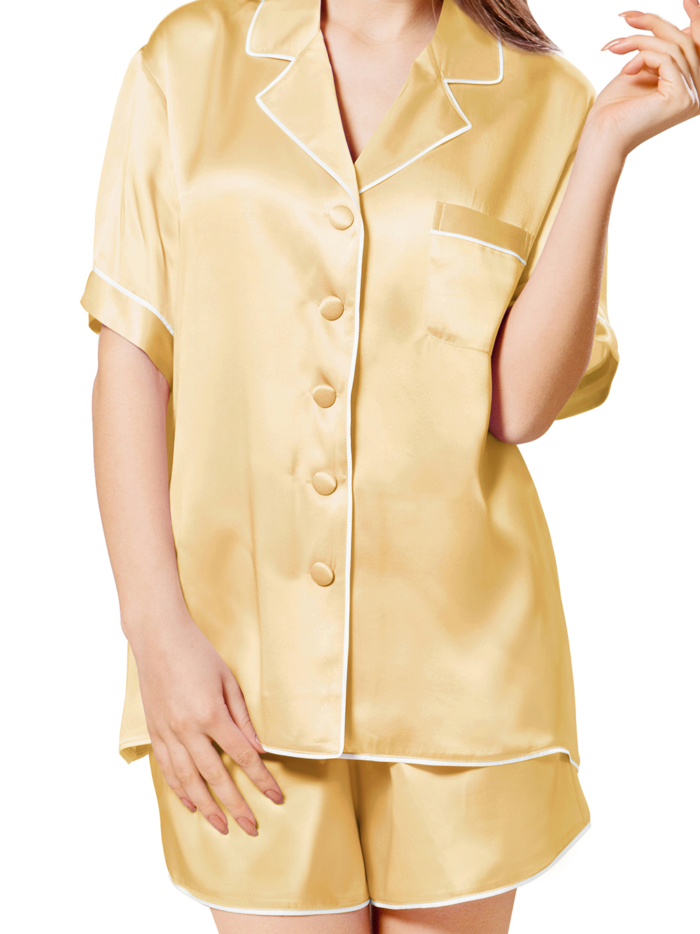 Gold Pure Silk Pajamas For Women Top Quality