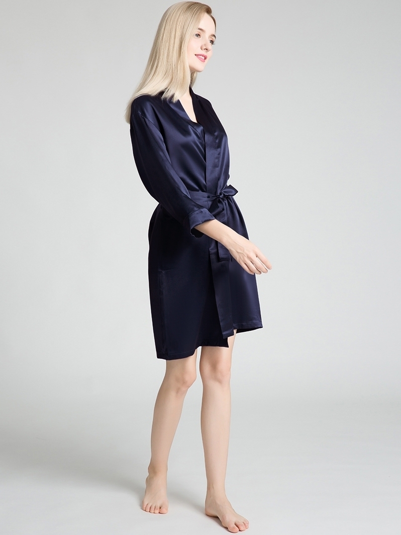 Lustrous Silk Robes Navy 115