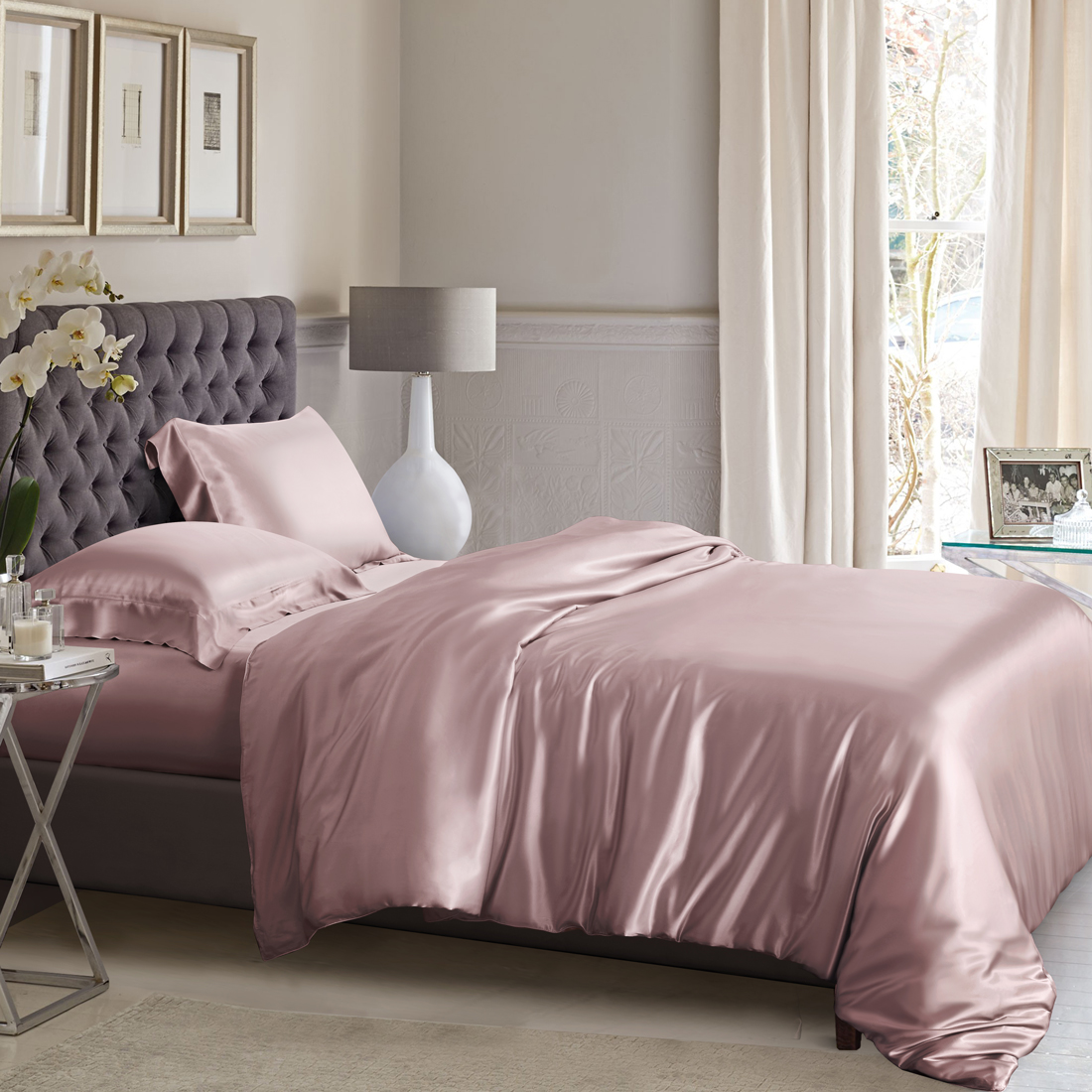 Dusty Rose Silk Bed Linen High Quality Mulberry Silk