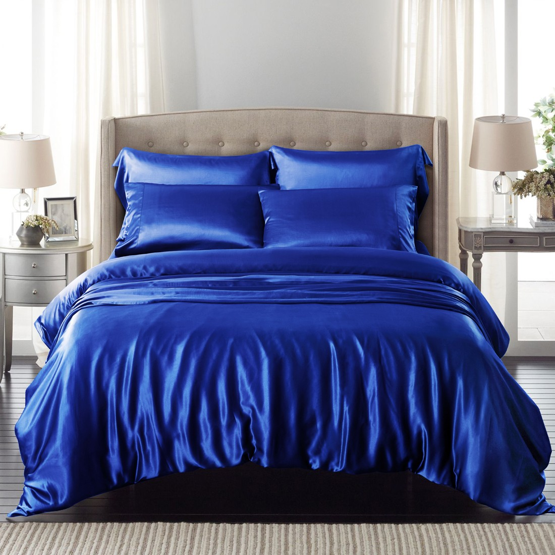 Silk Bedding Of High Quality Mulberry Silk Blue