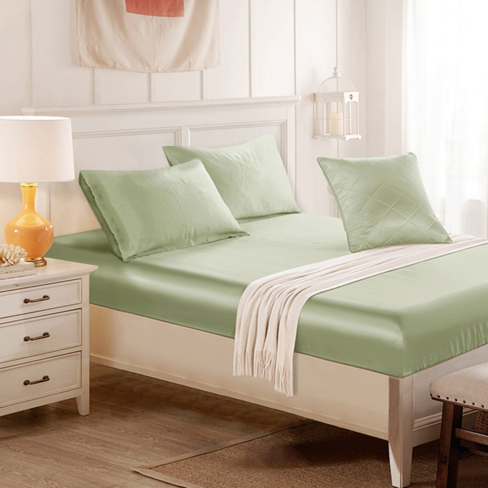 Sage Green Silk Fitted Sheet