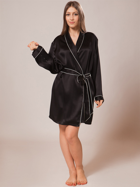 Short Silk Robes Sw39blk
