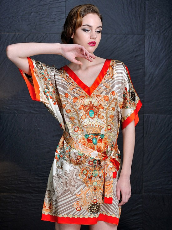 Printed Silk Nightdress With Short Sleeves