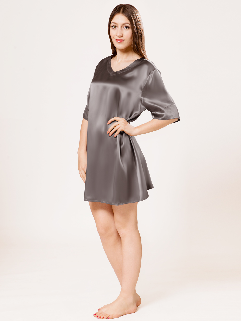 Gray Pure Mulberry Silk Chemise