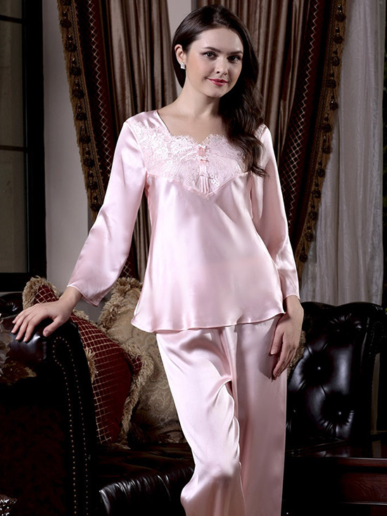 Pure Silk Pajama Set With Lace Trim