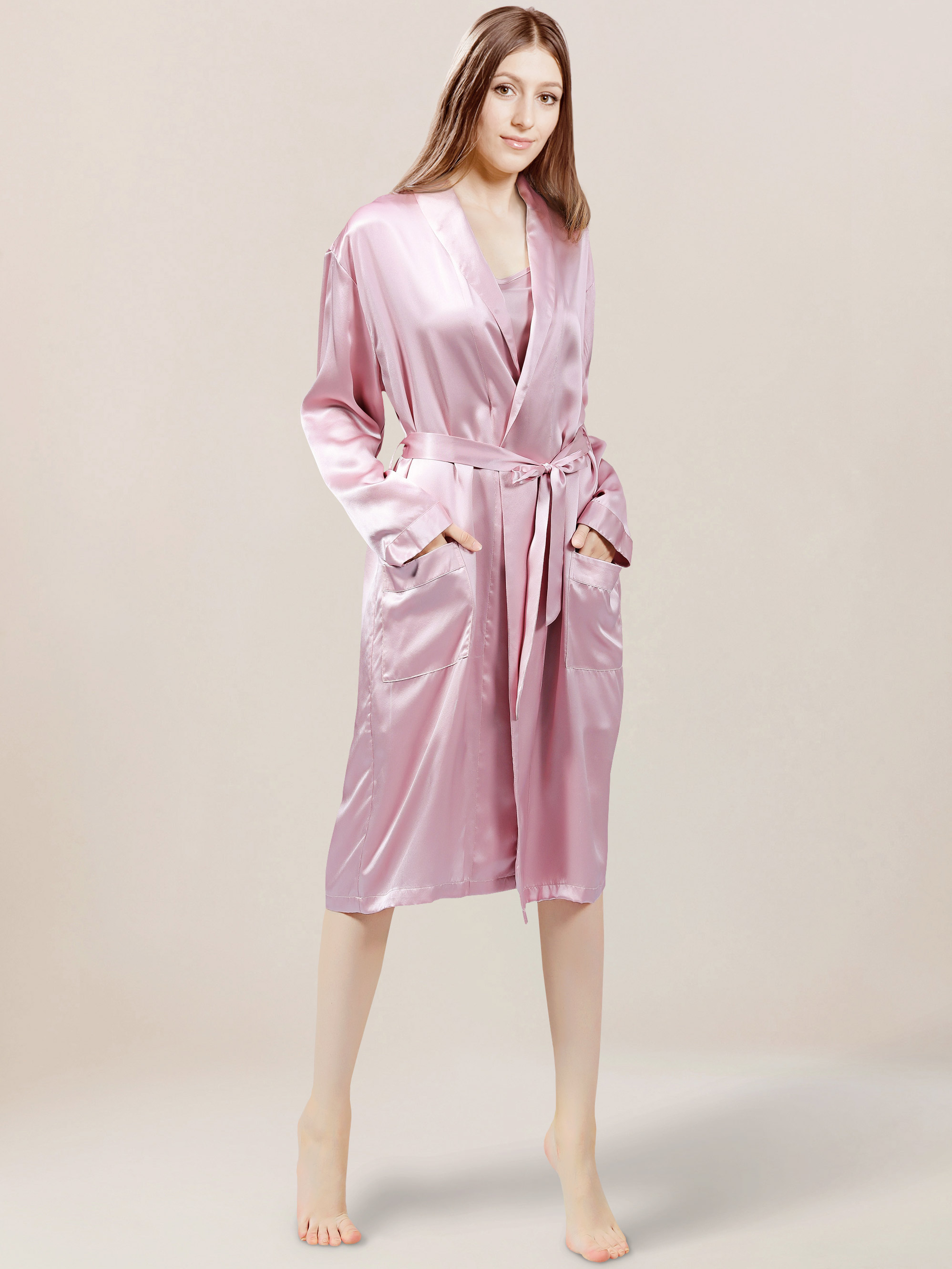 Ladies Mulberry Silk Robe Suede Rose