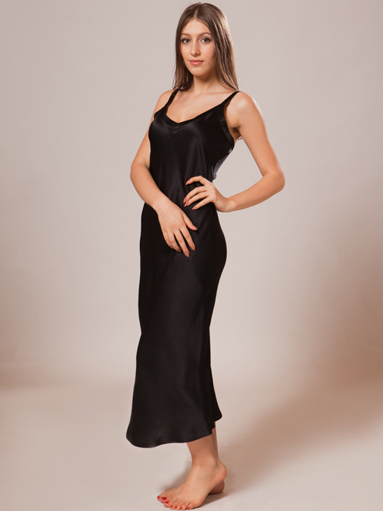 Soft Silk Nightgown Sw63blk