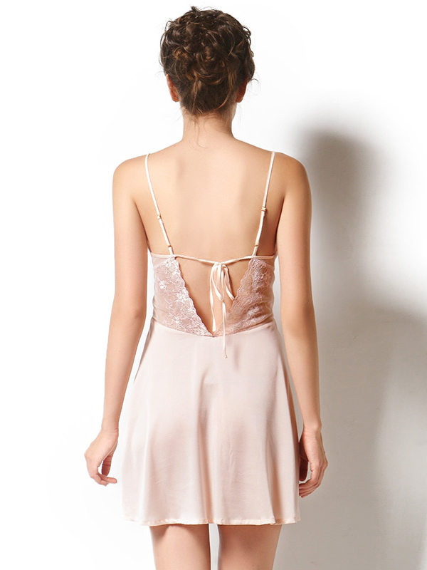 Sexy Silk Slip With Lace Back Tb7