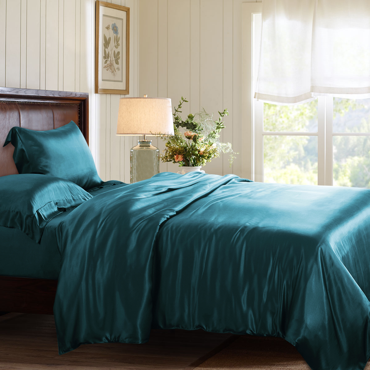 Teal Silk Duvet Cover